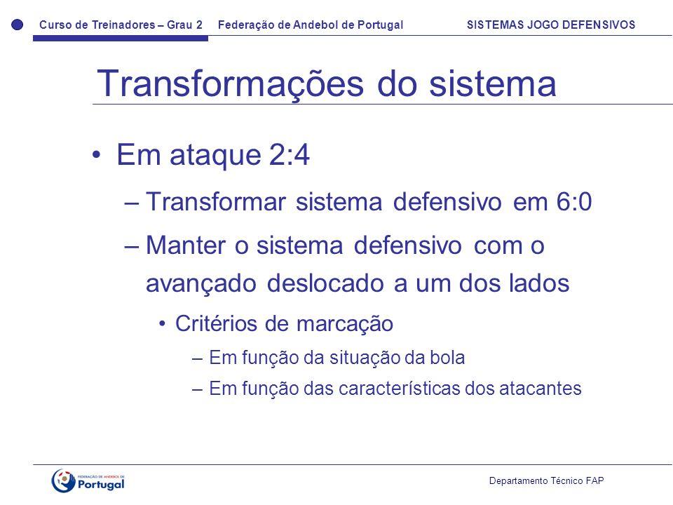 Curso de Treinadores – Grau 2 Federação de Andebol de Portugal SISTEMAS JOGO DEFENSIVOS Departamento Técnico FAP Em ataque 2:4 –Transformar sistema de