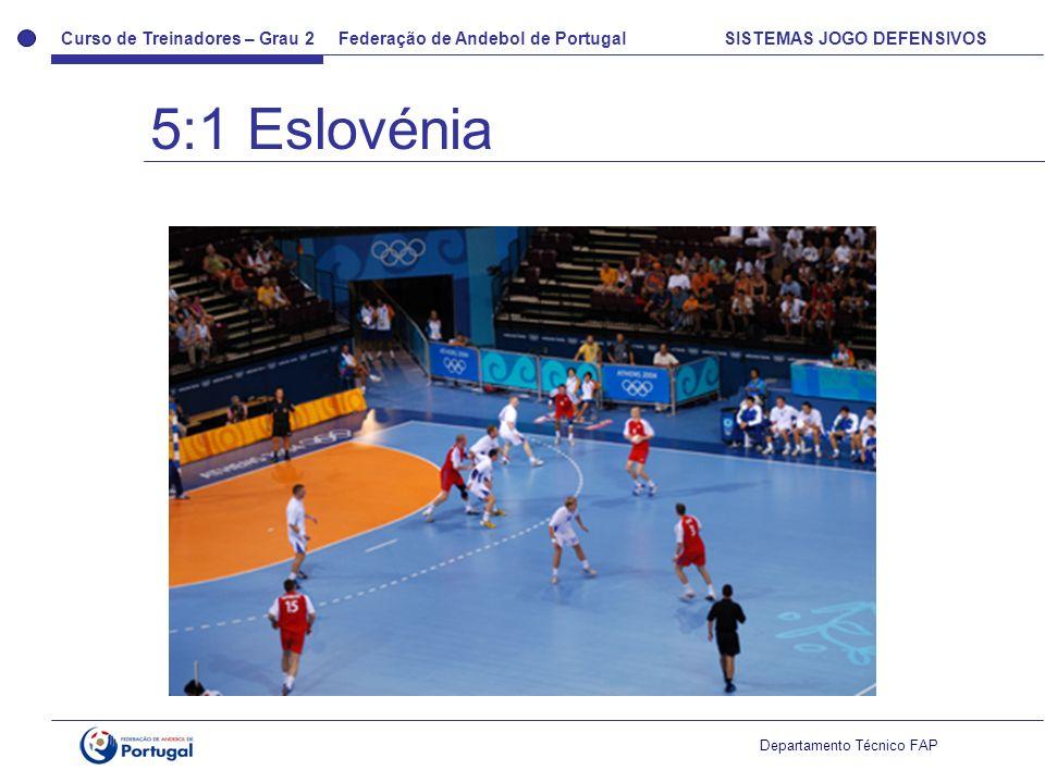 Curso de Treinadores – Grau 2 Federação de Andebol de Portugal SISTEMAS JOGO DEFENSIVOS Departamento Técnico FAP 5:1 Eslovénia