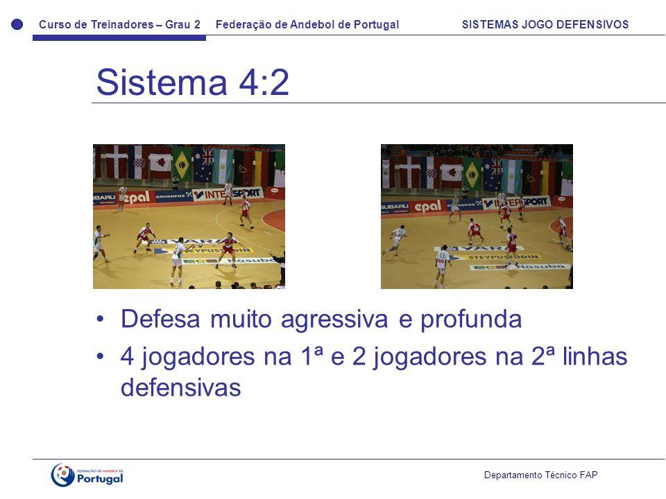 Curso de Treinadores – Grau 2 Federação de Andebol de Portugal SISTEMAS JOGO DEFENSIVOS Departamento Técnico FAP Defesa muito agressiva e profunda 4 j