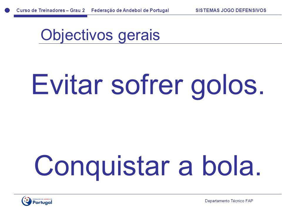 Curso de Treinadores – Grau 2 Federação de Andebol de Portugal SISTEMAS JOGO DEFENSIVOS Departamento Técnico FAP Evitar sofrer golos. Conquistar a bol