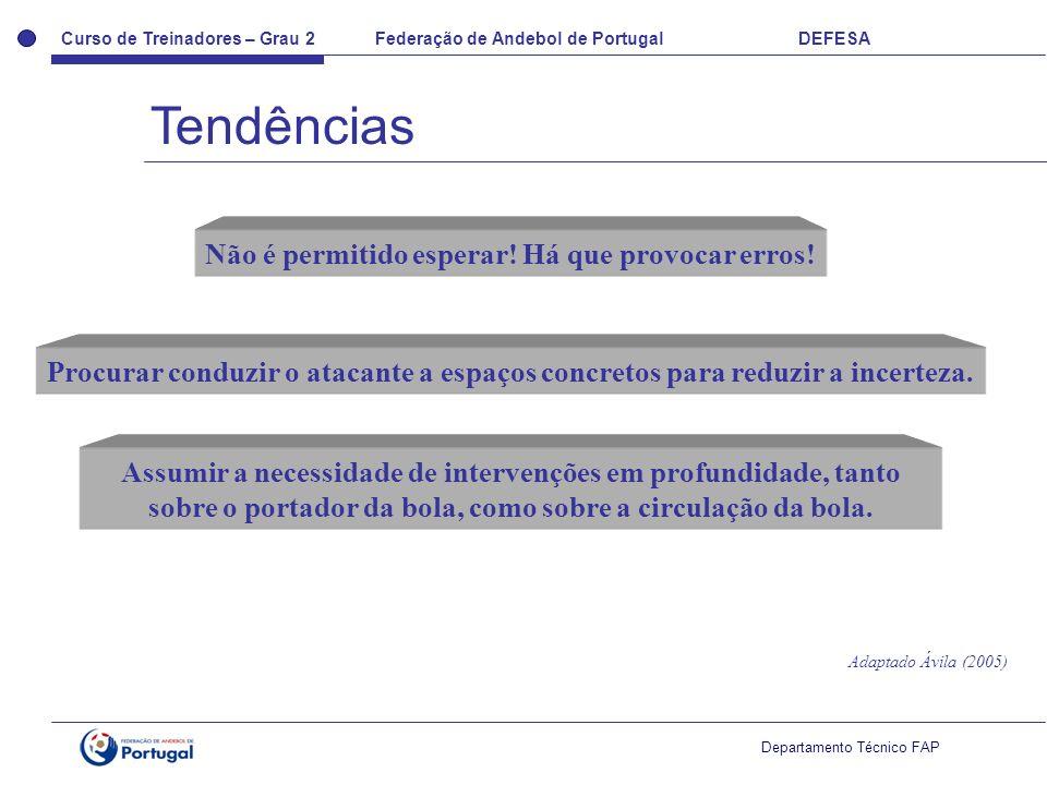 Curso de Treinadores – Grau 2 Federação de Andebol de Portugal DEFESA Departamento Técnico FAP Não é permitido esperar! Há que provocar erros! Procura
