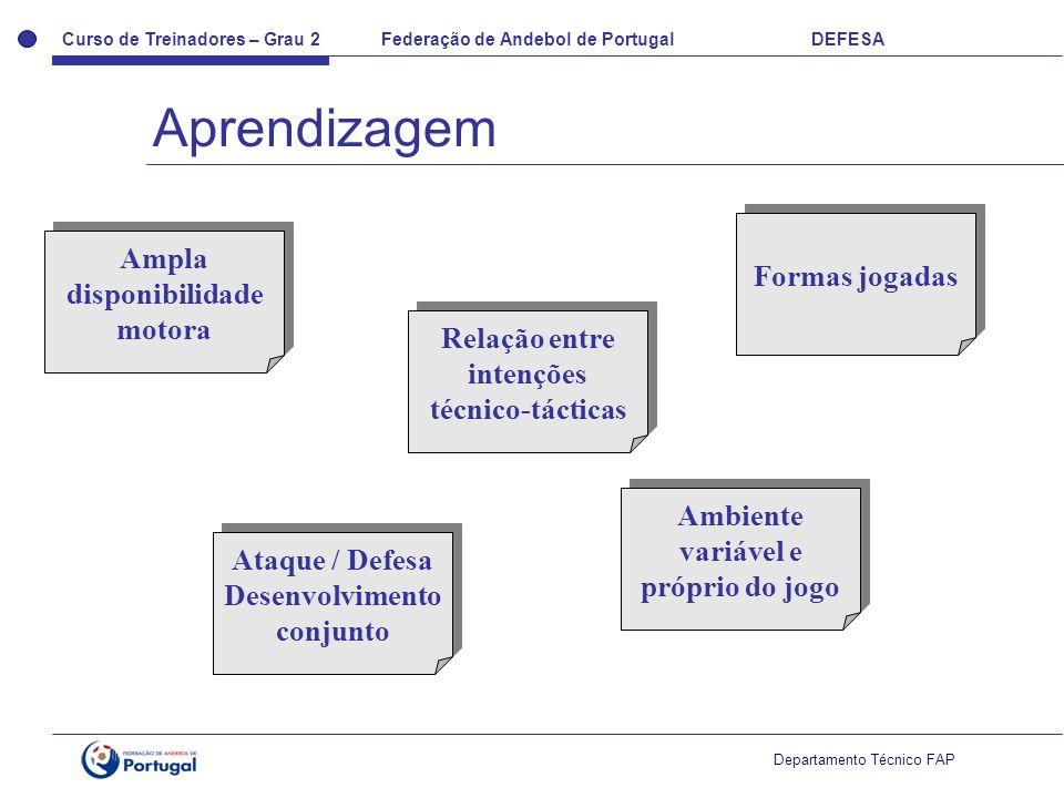 Curso de Treinadores – Grau 2 Federação de Andebol de Portugal DEFESA Departamento Técnico FAP Ampla disponibilidade motora Relação entre intenções técnico-tácticas Formas jogadas Ataque / Defesa Desenvolvimento conjunto Ataque / Defesa Desenvolvimento conjunto Ambiente variável e próprio do jogo Aprendizagem