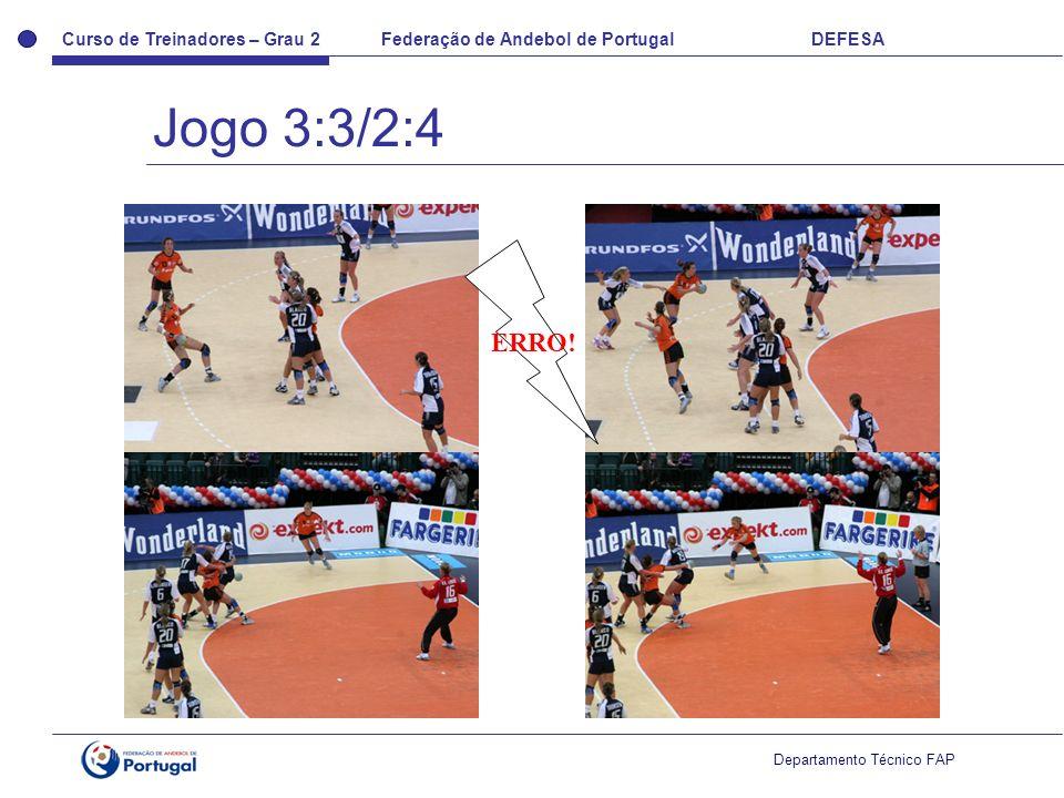 Curso de Treinadores – Grau 2 Federação de Andebol de Portugal DEFESA Departamento Técnico FAP ERRO! Jogo 3:3/2:4