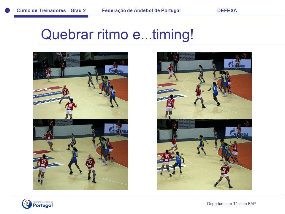 Curso de Treinadores – Grau 2 Federação de Andebol de Portugal DEFESA Departamento Técnico FAP Quebrar ritmo e...timing!