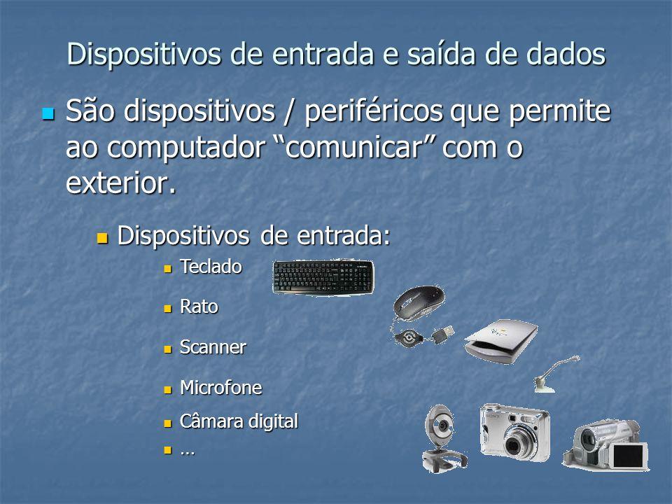 Dispositivos de entrada e saída de dados Dispositivos de saída: Dispositivos de saída: Monitores Monitores Impressoras Impressoras projector multimédia (de vídeo e de imagem) projector multimédia (de vídeo e de imagem) …