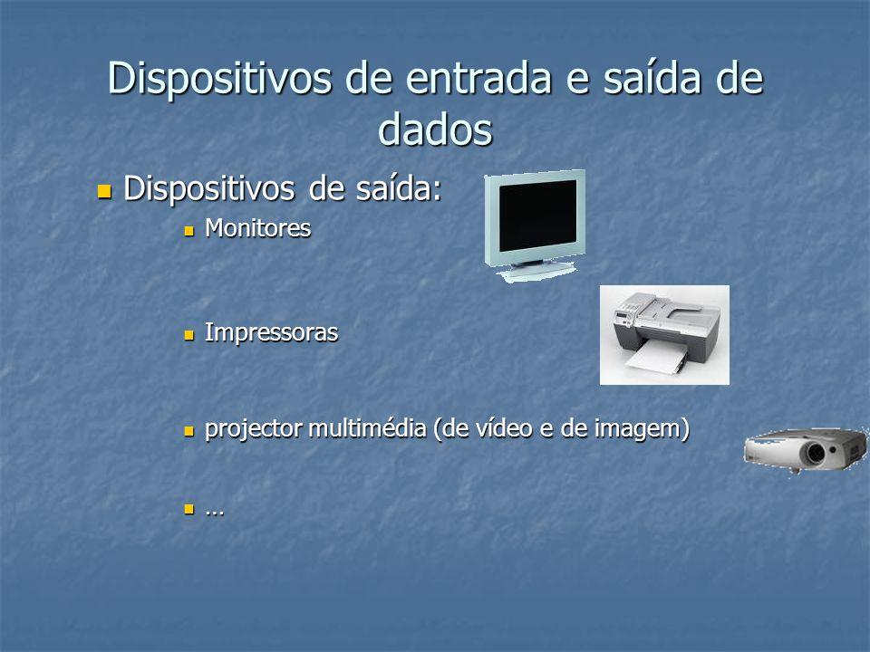 Dispositivos de entrada e saída de dados Dispositivos de entrada e saída: Dispositivos de entrada e saída: Drives de disquetes, de CD-ROM, de DVD; USB Flash memory Drives de disquetes, de CD-ROM, de DVD; USB Flash memory Placas de som Placas de som Placas de rede Placas de rede Modems Modems