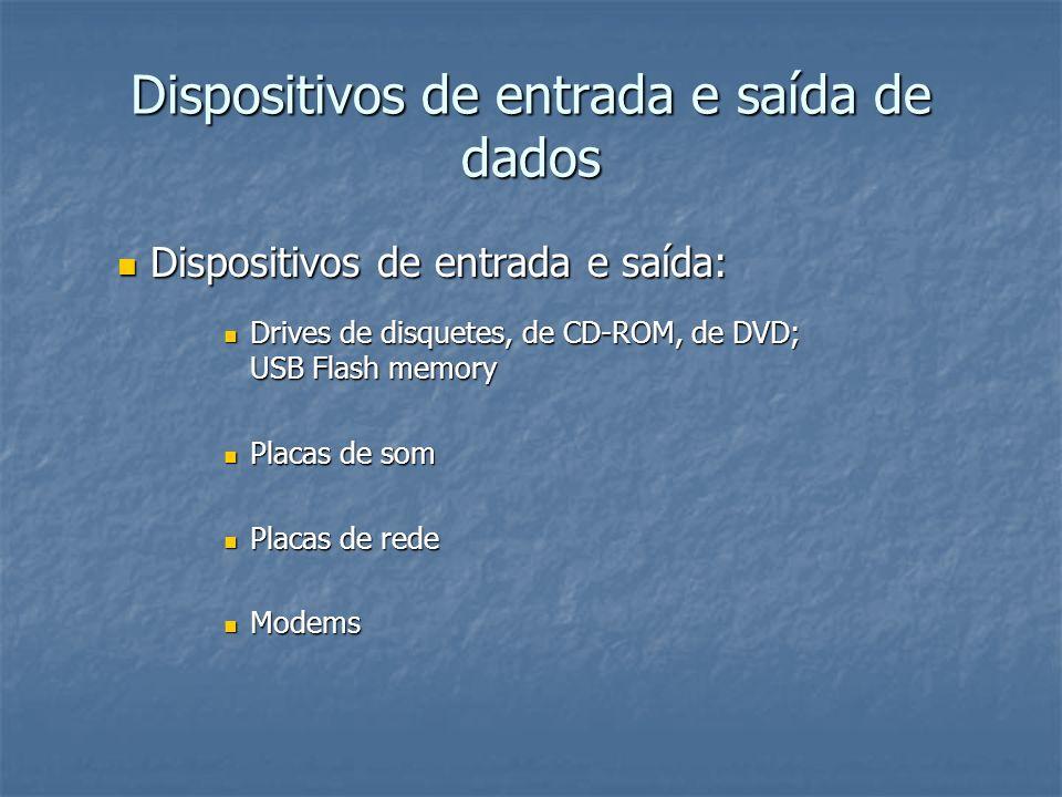 Principais componentes de um sistema informático Dispositivos de entrada – teclado, rato, scanner… Dispositivos de saída – monitor, altifalantes, impressora, projector… Computador (unidade central de processamento motherboard, chipset, memórias primárias: RAM, ROM, cache) Dispositivos de armazenamento (periféricos de entrada e saída – disco rígido, drives de disquetes, de CD-Rom, de DVD, …)