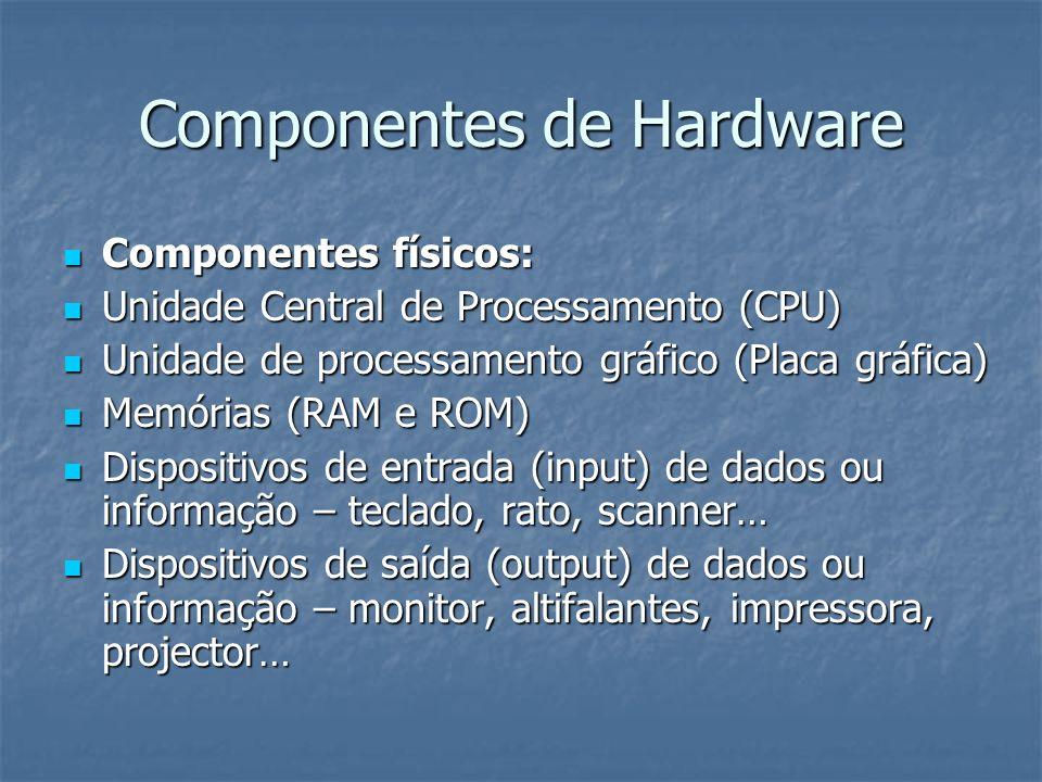 CPU – Unidade Central de Processamento É o cérebro de um computador, responsável por todo o funcionamento do sistema informático É o cérebro de um computador, responsável por todo o funcionamento do sistema informático O tipo de CPU determina a velocidade com que o computador recebe, trata e transmite os dados O tipo de CPU determina a velocidade com que o computador recebe, trata e transmite os dados