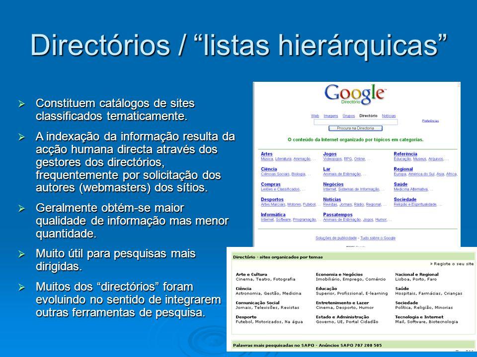 Constituem catálogos de sites classificados tematicamente. Constituem catálogos de sites classificados tematicamente. A indexação da informação result