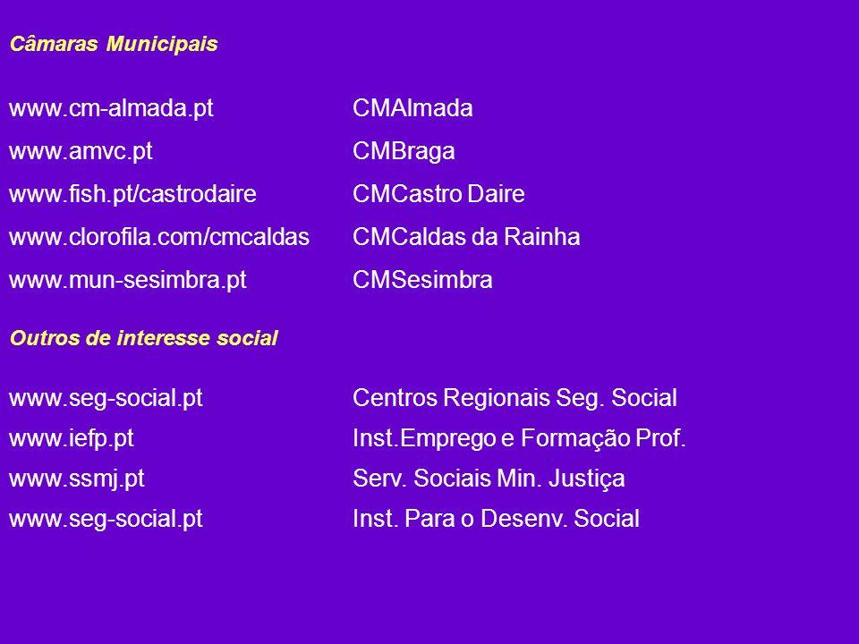 Câmaras Municipais www.cm-almada.ptCMAlmada www.amvc.ptCMBraga www.fish.pt/castrodaireCMCastro Daire www.clorofila.com/cmcaldasCMCaldas da Rainha www.mun-sesimbra.ptCMSesimbra Outros de interesse social www.seg-social.ptCentros Regionais Seg.