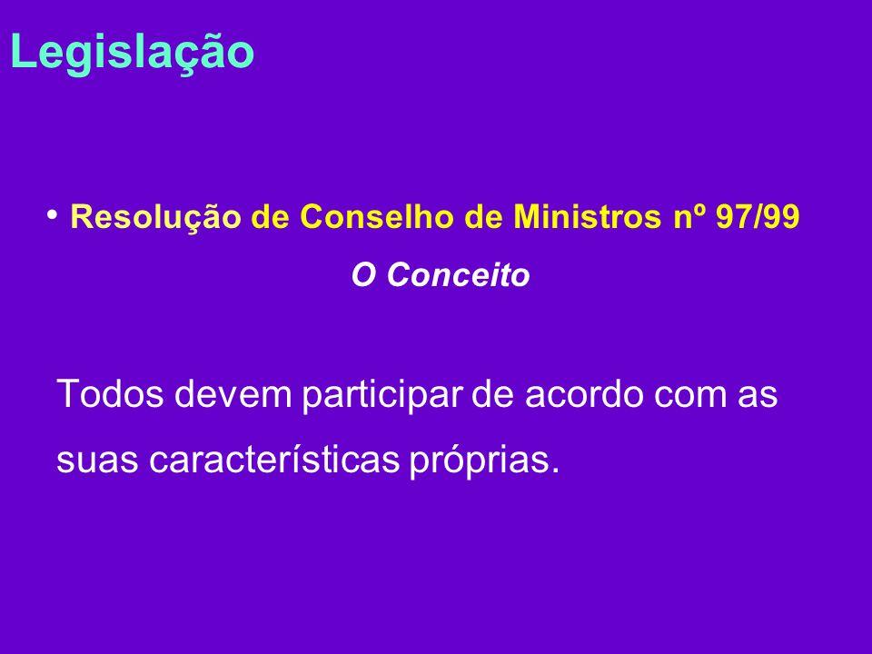 Legislação Resolução de Conselho de Ministros nº 97/99 O Conceito Todos devem participar de acordo com as suas características próprias.