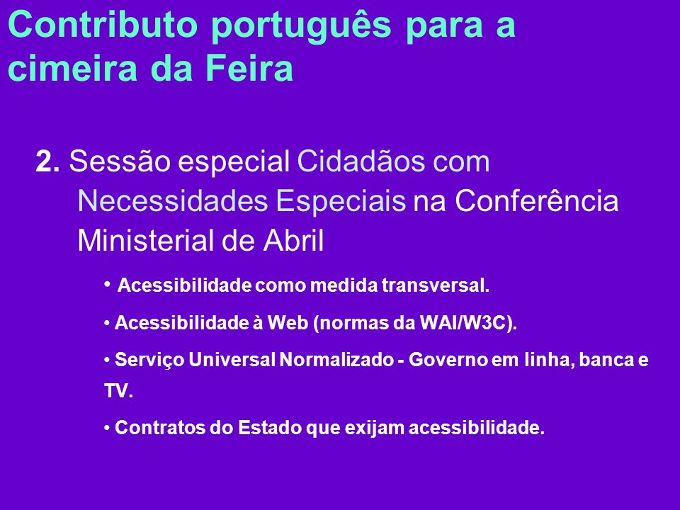 Contributo português para a cimeira da Feira 2.