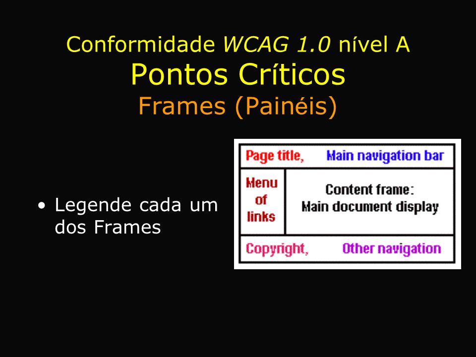 Legende cada um dos Frames Conformidade WCAG 1.0 n í vel A Pontos Cr í ticos Frames (Pain é is)