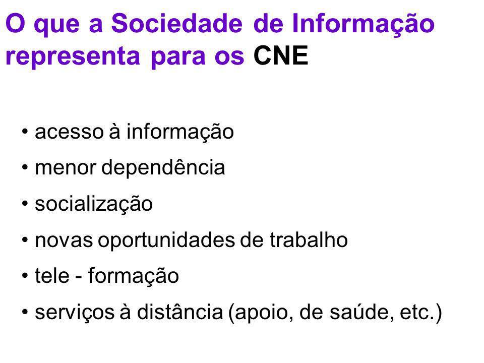 O que a Sociedade de Informação representa para os CNE acesso à informação menor dependência socialização novas oportunidades de trabalho tele - formação serviços à distância (apoio, de saúde, etc.)