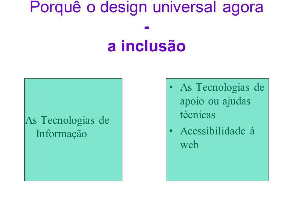 Porquê o design universal agora - a inclusão As Tecnologias de Informação As Tecnologias de apoio ou ajudas técnicas Acessibilidade à web