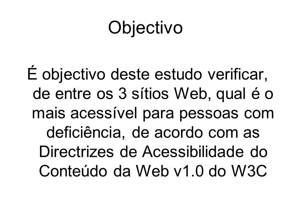 Objectivo É objectivo deste estudo verificar, de entre os 3 sítios Web, qual é o mais acessível para pessoas com deficiência, de acordo com as Directrizes de Acessibilidade do Conteúdo da Web v1.0 do W3C