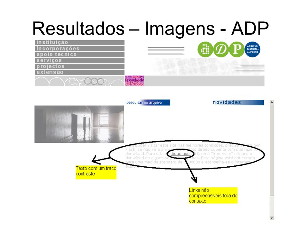 Conclusão O sítio Web do Arquivo Distrital do Porto contém 4 vezes mais barreiras que os sítios Web da BND e que o sítio Web do IPM