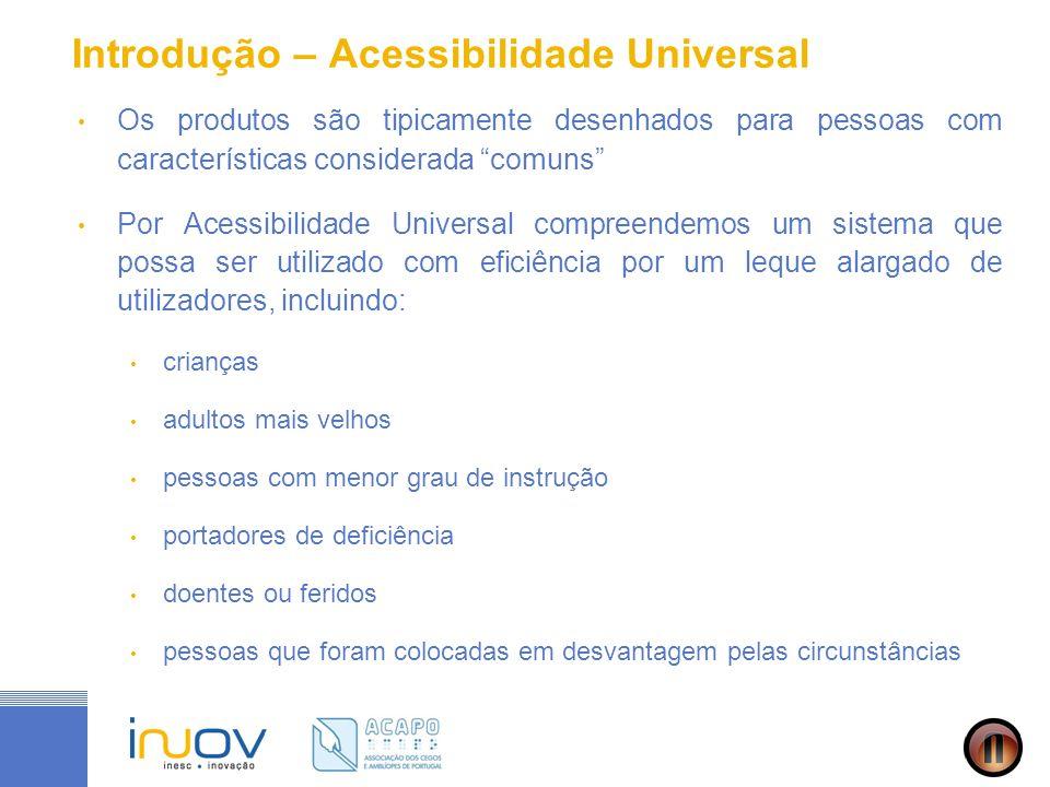 Introdução – Acessibilidade Universal Os produtos são tipicamente desenhados para pessoas com características considerada comuns Por Acessibilidade Un