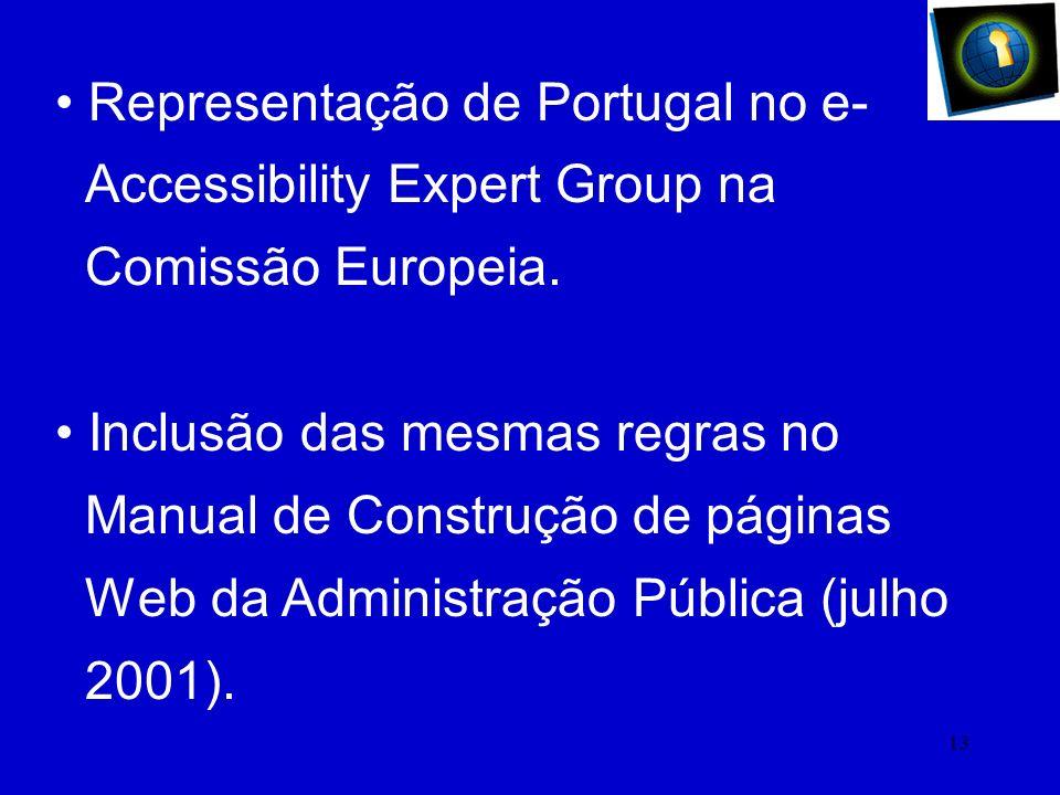 12 Acessibilidade à Web Resolução Conselho de Ministros 97/99. Adopção das Directrizes da WAI pelos 15 Estados Membros, em junho 2000.