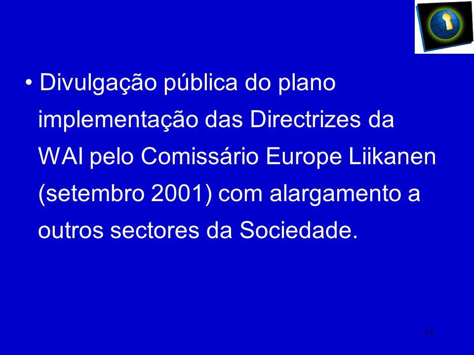 13 Representação de Portugal no e- Accessibility Expert Group na Comissão Europeia. Inclusão das mesmas regras no Manual de Construção de páginas Web