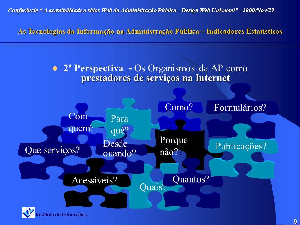 Instituto de Informática Conferência A acessibilidade a sítios Web da Administração Pública – Design Web Universal - 2000/Nov/29 As Tecnologias da Inf