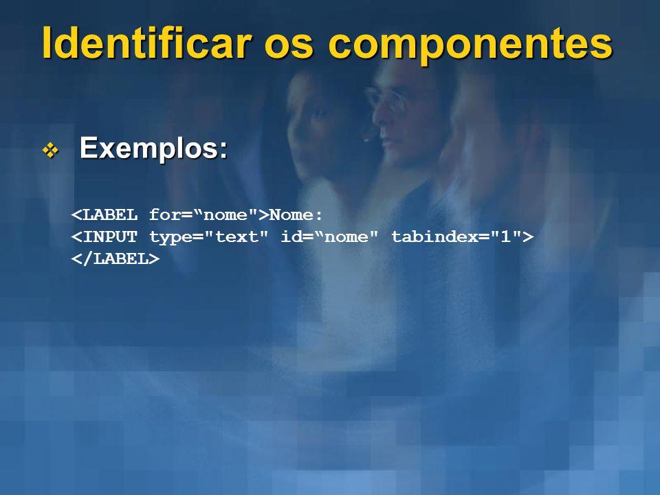 Identificar os componentes Exemplos: Exemplos: Nome: