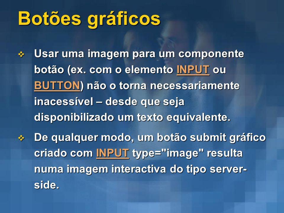 Botões gráficos Usar uma imagem para um componente botão (ex. com o elemento INPUT ou BUTTON) não o torna necessariamente inacessível – desde que seja