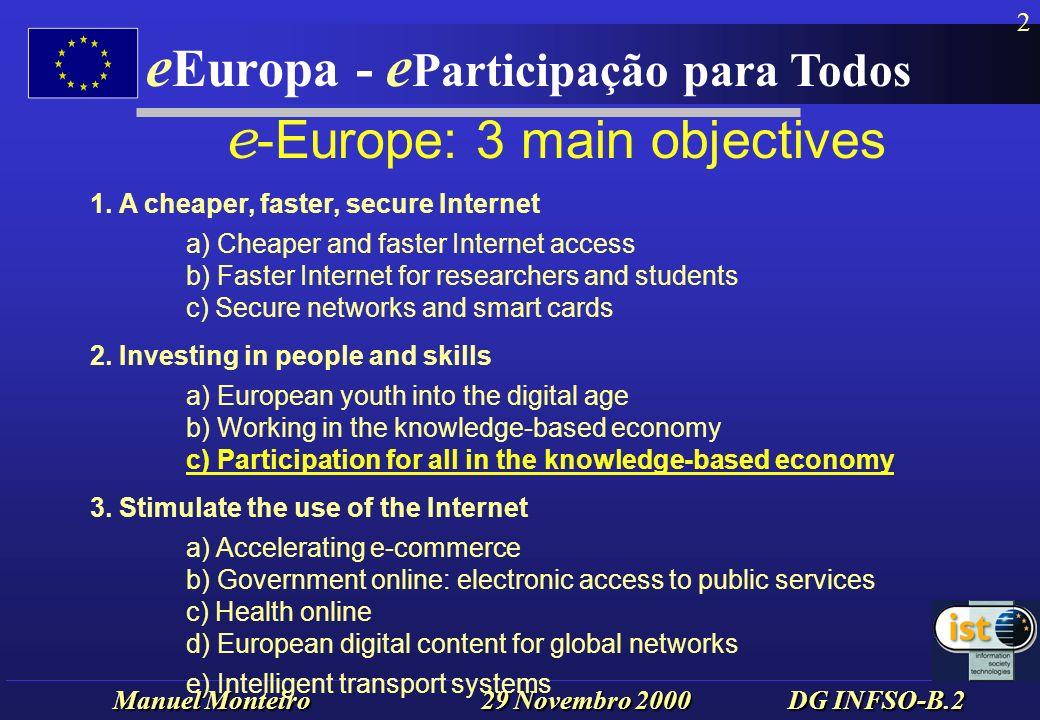 Manuel Monteiro 29 Novembro 2000 DG INFSO-B.2 e Europa - e Participação para Todos 3 e -Europe - Participation...