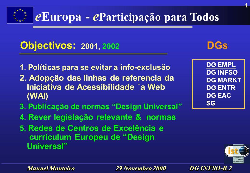 Manuel Monteiro 29 Novembro 2000 DG INFSO-B.2 e Europa - e Participação para Todos 15 The access bottlenecks are all too familiar.