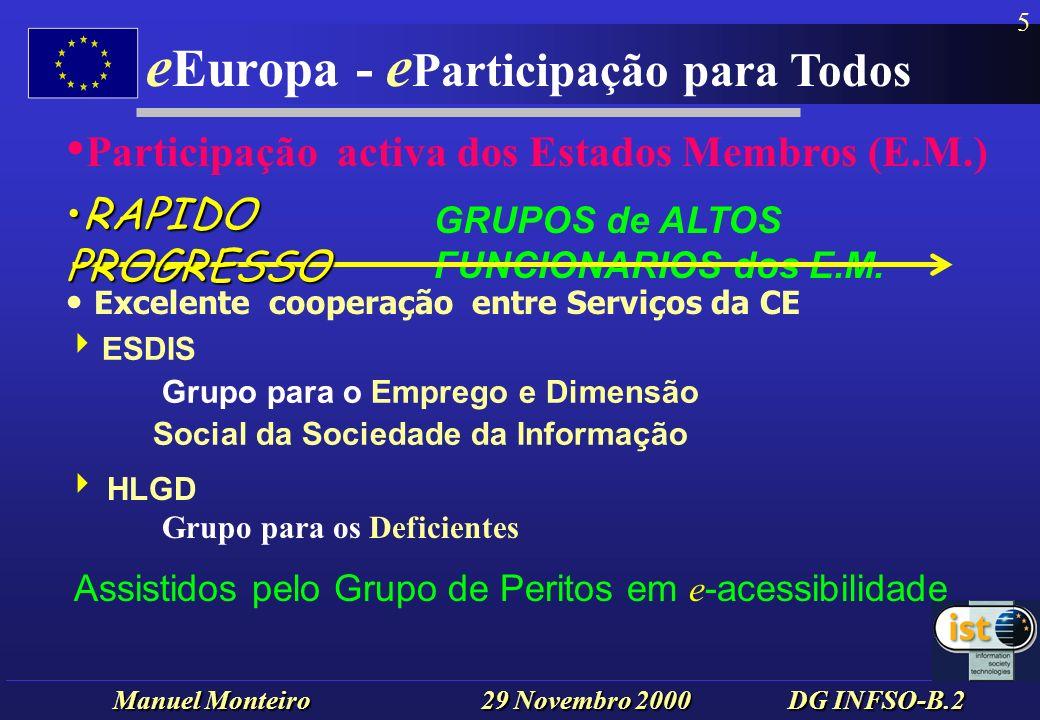 Manuel Monteiro 29 Novembro 2000 DG INFSO-B.2 e Europa - e Participação para Todos 5 ESDIS Grupo para o Emprego e Dimensão Social da Sociedade da Informação HLGD Grupo para os Deficientes GRUPOS de ALTOS FUNCIONARIOS dos E.M.