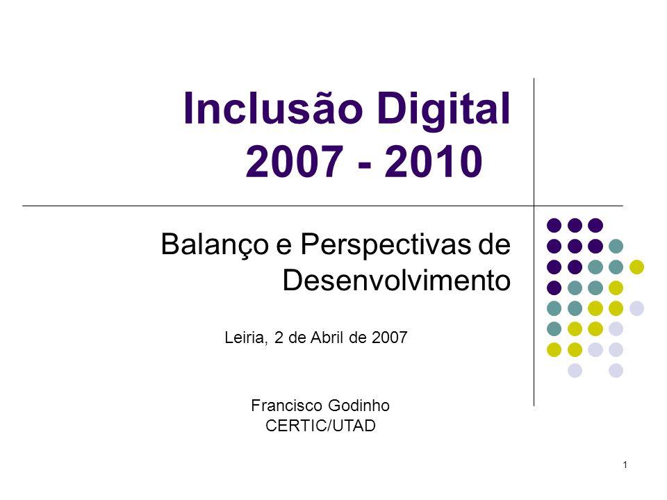 1 Inclusão Digital 2007 - 2010 Balanço e Perspectivas de Desenvolvimento Leiria, 2 de Abril de 2007 Francisco Godinho CERTIC/UTAD