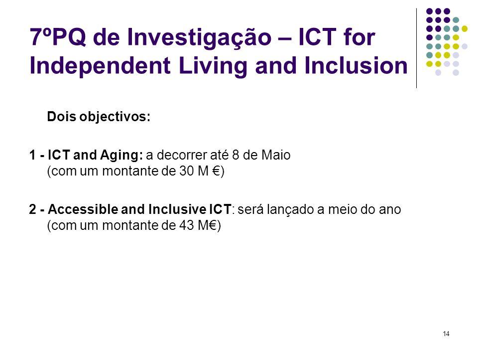 14 7ºPQ de Investigação – ICT for Independent Living and Inclusion Dois objectivos: 1 - ICT and Aging: a decorrer até 8 de Maio (com um montante de 30 M ) 2 - Accessible and Inclusive ICT: será lançado a meio do ano (com um montante de 43 M)