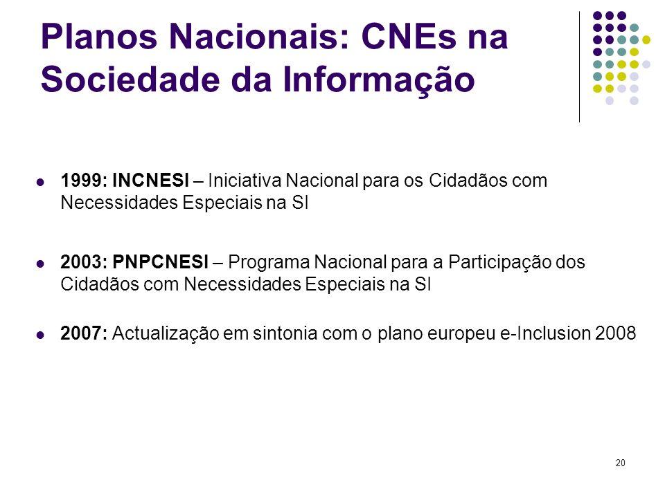 20 Planos Nacionais: CNEs na Sociedade da Informação 1999: INCNESI – Iniciativa Nacional para os Cidadãos com Necessidades Especiais na SI 2003: PNPCNESI – Programa Nacional para a Participação dos Cidadãos com Necessidades Especiais na SI 2007: Actualização em sintonia com o plano europeu e-Inclusion 2008