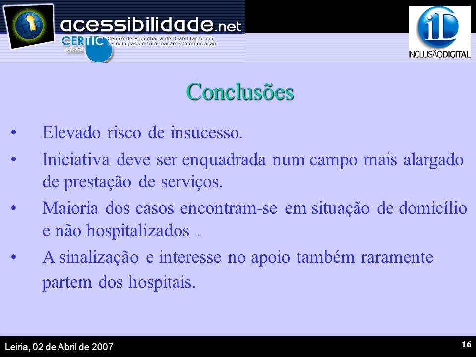 Leiria, 02 de Abril de 2007 16 Conclusões Elevado risco de insucesso.