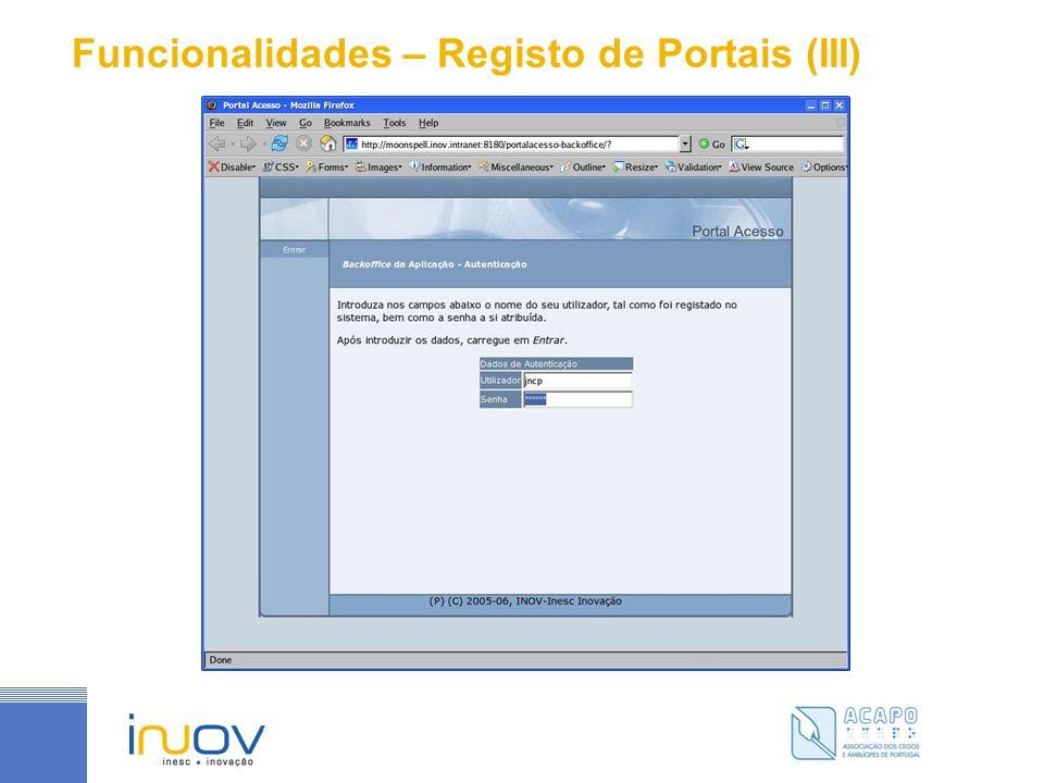 Funcionalidades – Registo de Portais (III)