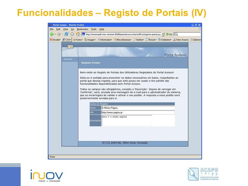 Funcionalidades – Registo de Portais (IV)