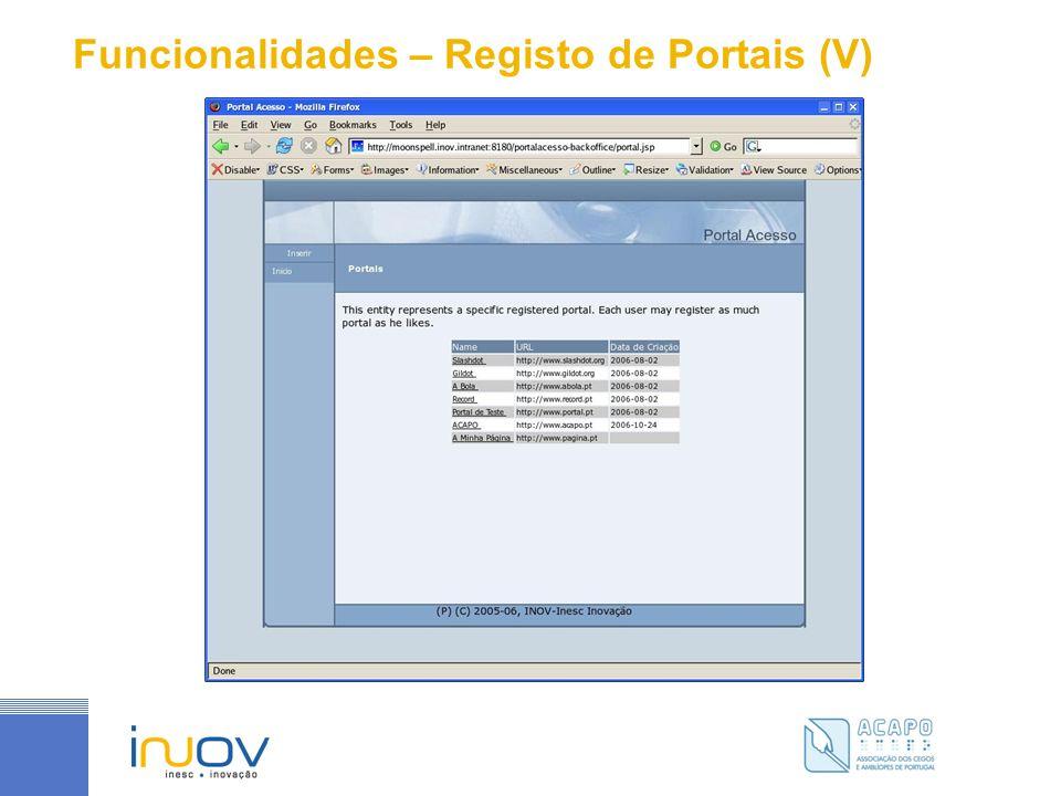 Funcionalidades – Registo de Portais (V)
