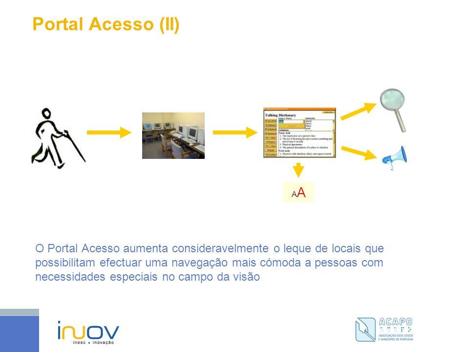Portal Acesso (II) O Portal Acesso aumenta consideravelmente o leque de locais que possibilitam efectuar uma navegação mais cómoda a pessoas com necessidades especiais no campo da visão A