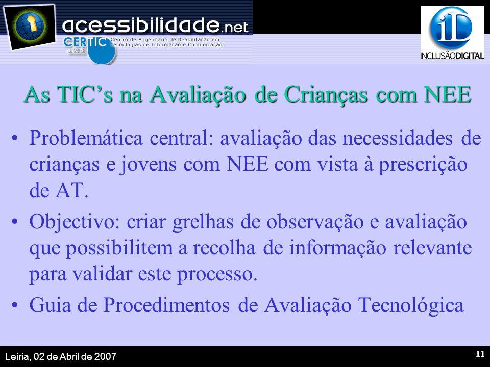 Leiria, 02 de Abril de 2007 11 As TICs na Avaliação de Crianças com NEE Problemática central: avaliação das necessidades de crianças e jovens com NEE com vista à prescrição de AT.