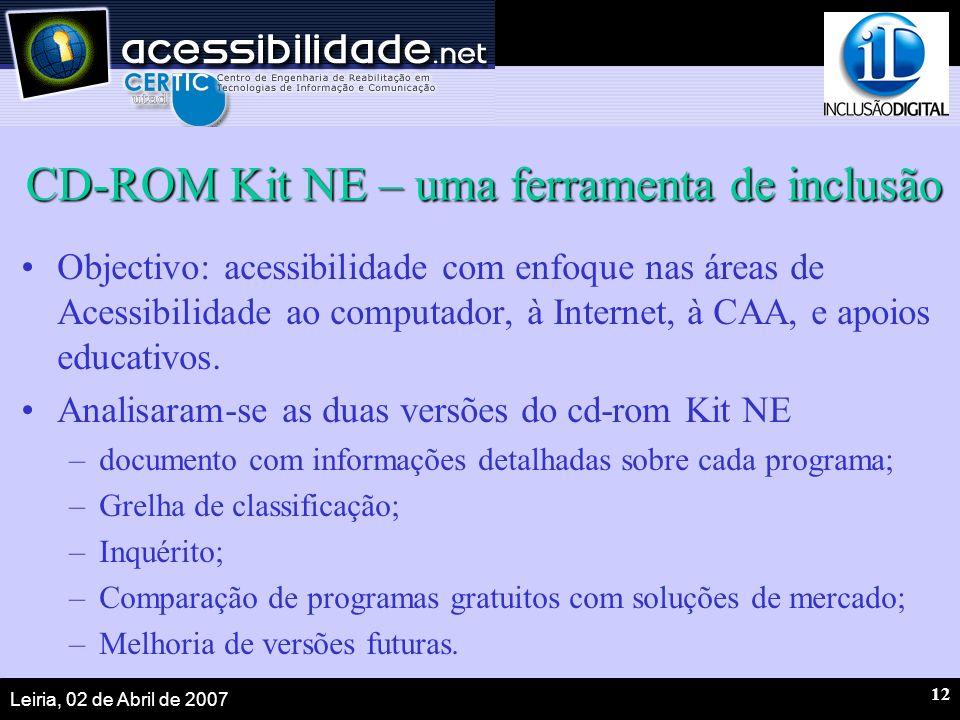 Leiria, 02 de Abril de 2007 12 CD-ROM Kit NE – uma ferramenta de inclusão Objectivo: acessibilidade com enfoque nas áreas de Acessibilidade ao computa
