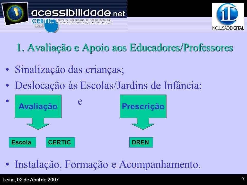 Leiria, 02 de Abril de 2007 7 1. Avaliação e Apoio aos Educadores/Professores Sinalização das crianças; Deslocação às Escolas/Jardins de Infância; e I