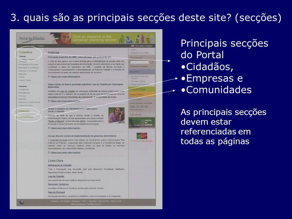 3. quais são as principais secções deste site? (secções) Principais secções do Portal Cidadãos, Empresas e Comunidades As principais secções devem est