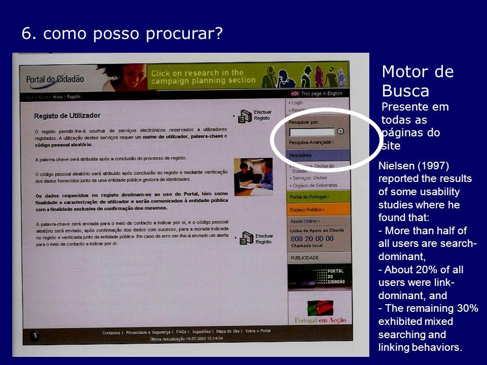 6. como posso procurar? Motor de Busca Presente em todas as páginas do site Nielsen (1997) reported the results of some usability studies where he fou