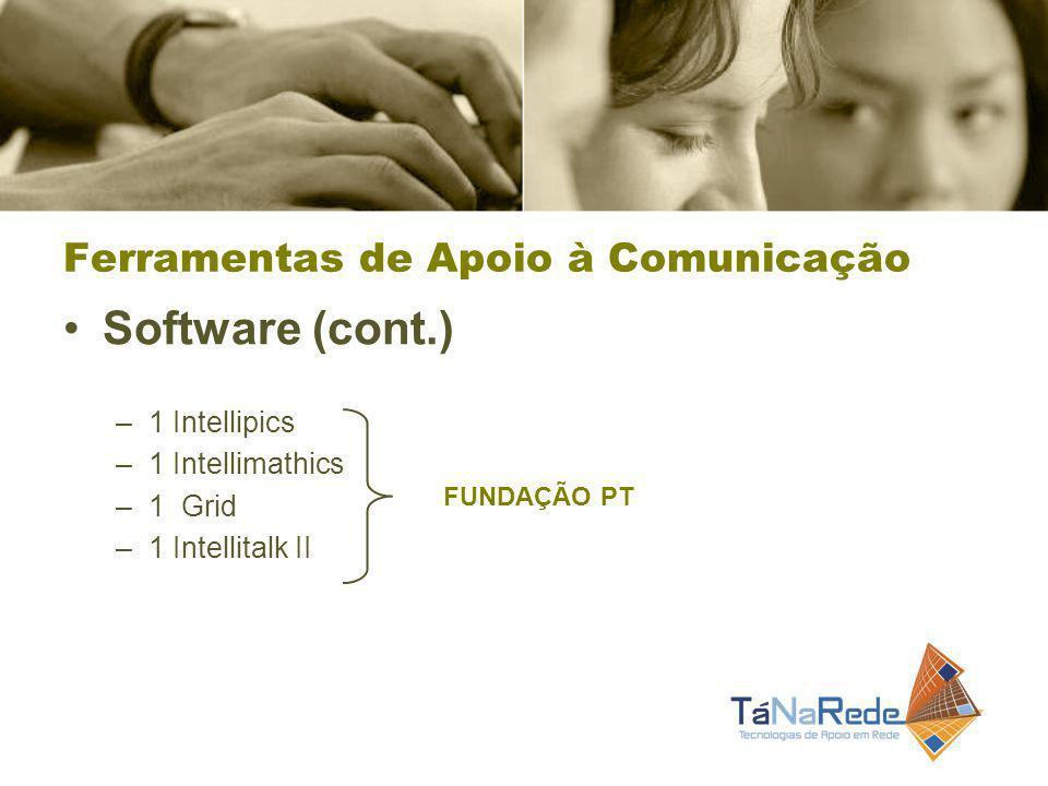 Software (cont.) –1 Intellipics –1 Intellimathics –1 Grid –1 Intellitalk II FUNDAÇÃO PT Ferramentas de Apoio à Comunicação