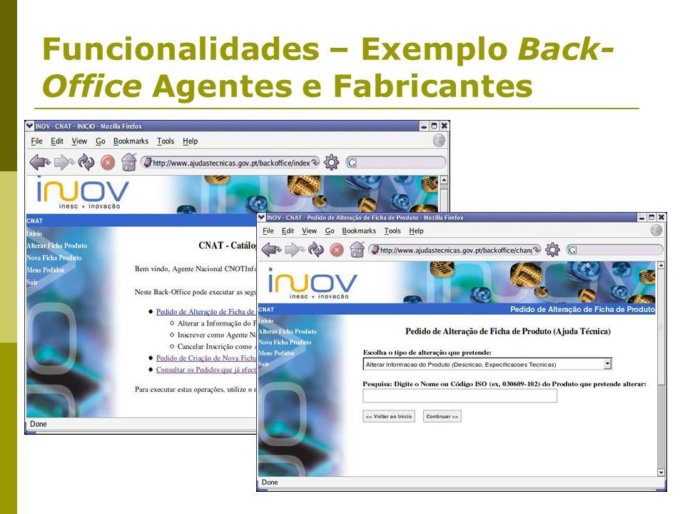 Funcionalidades – Exemplo Back- Office Agentes e Fabricantes