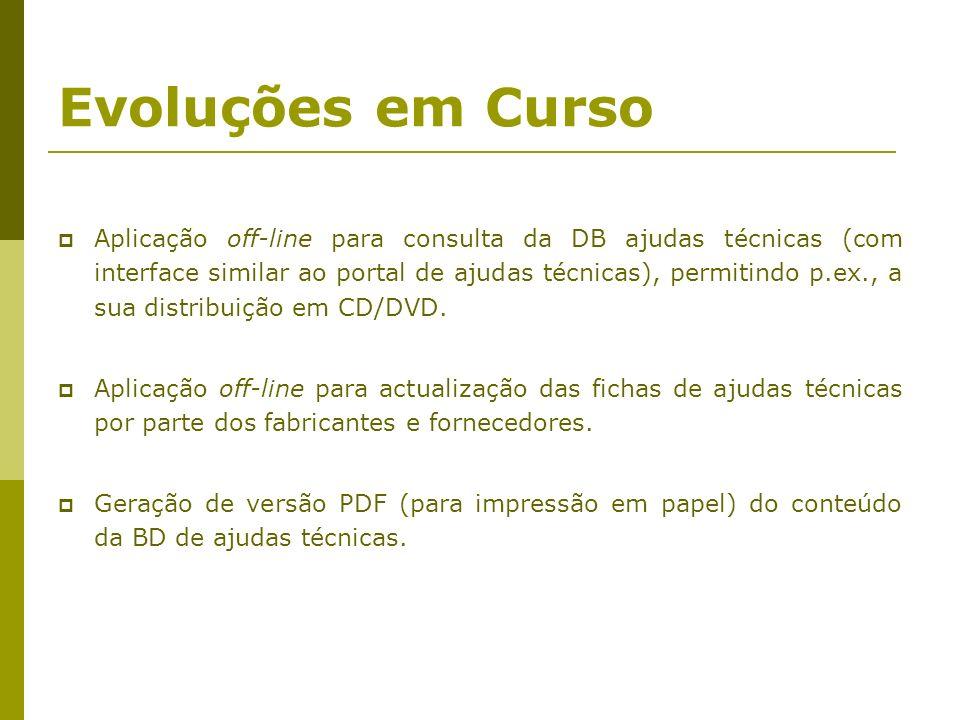 Evoluções em Curso Aplicação off-line para consulta da DB ajudas técnicas (com interface similar ao portal de ajudas técnicas), permitindo p.ex., a su
