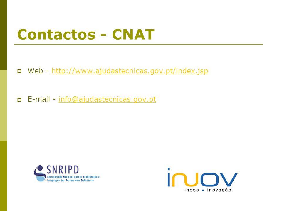 Contactos - CNAT Web - http://www.ajudastecnicas.gov.pt/index.jsphttp://www.ajudastecnicas.gov.pt/index.jsp E-mail - info@ajudastecnicas.gov.ptinfo@aj