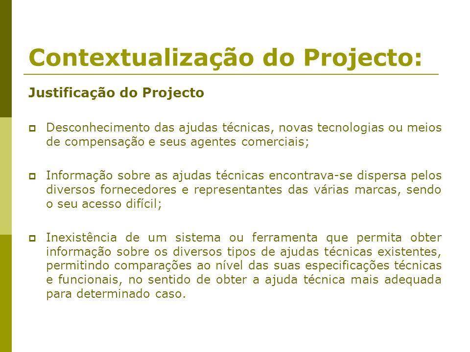 Contextualização do Projecto: Justificação do Projecto Desconhecimento das ajudas técnicas, novas tecnologias ou meios de compensação e seus agentes c