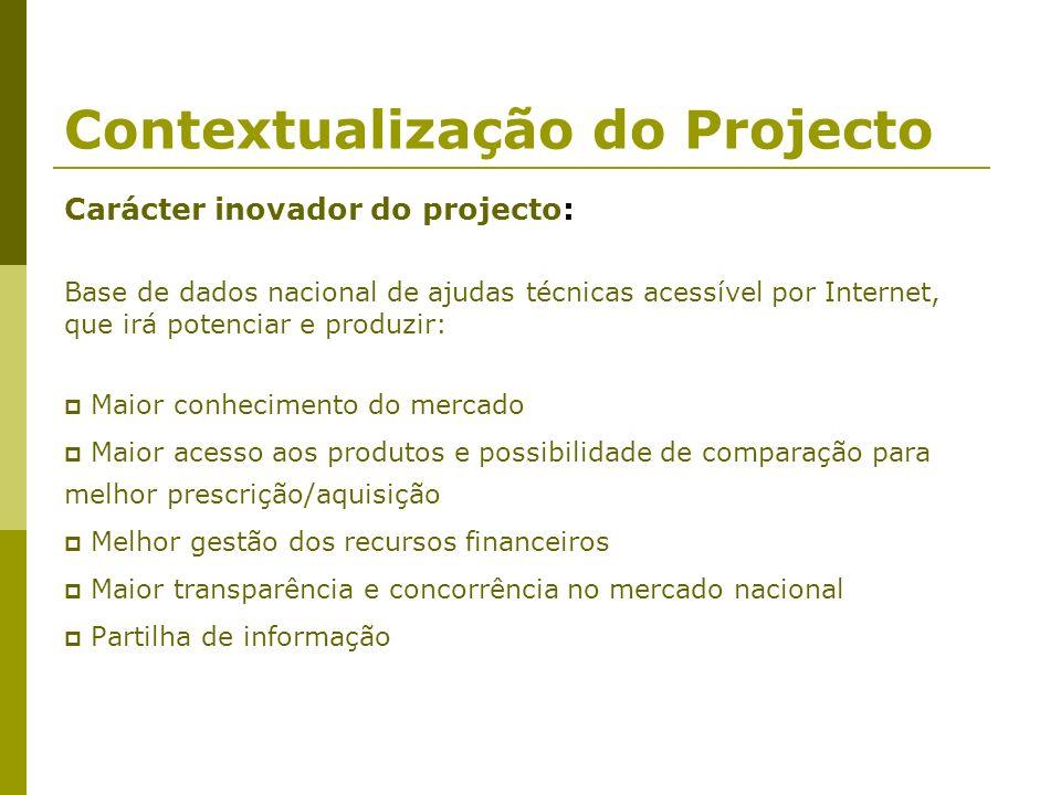 Contextualização do Projecto Carácter inovador do projecto: Base de dados nacional de ajudas técnicas acessível por Internet, que irá potenciar e prod