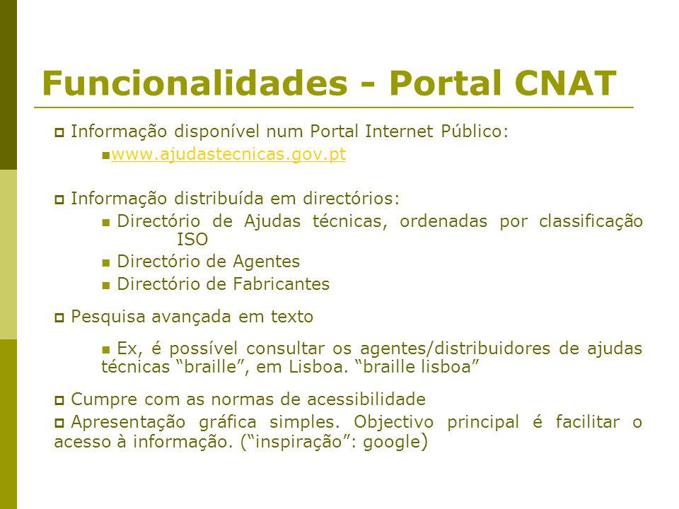 Funcionalidades - Portal CNAT Informação disponível num Portal Internet Público: www.ajudastecnicas.gov.pt Informação distribuída em directórios: Dire